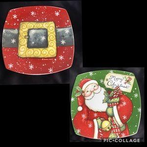 2 Cypress Home Christmas Santa Plates
